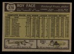 1961 Topps #370  Roy Face  Back Thumbnail