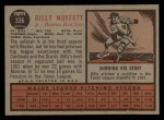 1962 Topps #336  Billy Muffett  Back Thumbnail