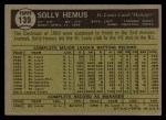 1961 Topps #139  Solly Hemus  Back Thumbnail
