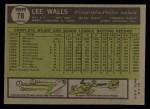 1961 Topps #78  Lee Walls  Back Thumbnail