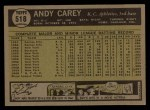 1961 Topps #518  Andy Carey  Back Thumbnail