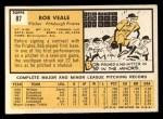 1963 Topps #87  Bob Veale  Back Thumbnail