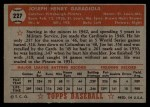 1952 Topps #227  Joe Garagiola  Back Thumbnail