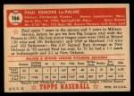 1952 Topps #166 CRM Paul LaPalme  Back Thumbnail