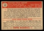 1952 Topps #169 CRM Howie Judson  Back Thumbnail