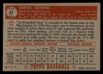 1952 Topps #27 RED Sam Jethroe  Back Thumbnail