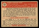 1952 Topps #153 CRM Bob Rush  Back Thumbnail