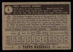 1952 Topps #8 BLK Fred Marsh  Back Thumbnail