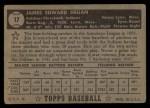 1952 Topps #17 BLK Jim Hegan  Back Thumbnail