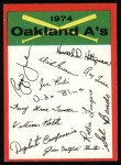 1974 Topps Red Checklist   Athletics Front Thumbnail