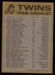 1974 Topps Red Team Checklists #14   Twins Team Checklist Back Thumbnail