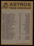 1974 Topps Red Checklist   Astros Red Team Checklist Back Thumbnail