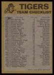 1974 Topps Red Checklist   Tigers Red Team Checklist Back Thumbnail