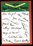 1974 Topps Red Checklist   Giants Red Team Checklist Front Thumbnail