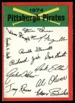 1974 Topps Red Checklist   Pirates Front Thumbnail