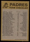 1974 Topps Red Checklist   Padres Back Thumbnail