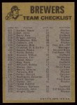 1974 Topps Red Checklist   Brewers Red Team Checklist Back Thumbnail