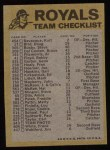 1974 Topps Red Checklist   Royals Back Thumbnail