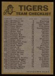 1974 Topps Red Team Checklists #9   Tigers Team Checklist Back Thumbnail