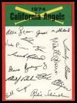 1974 Topps Red Checklist   Angels Front Thumbnail