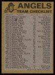 1974 Topps Red Checklist   Angels Back Thumbnail