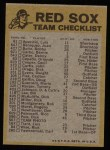 1974 Topps Red Checklist   Red Sox Back Thumbnail