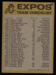 1974 Topps Red Team Checklists #15   Expos Team Checklist Back Thumbnail