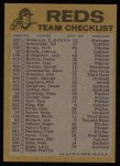 1974 Topps Red Checklist   Reds Red Team Checklist Back Thumbnail