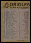 1974 Topps Red Checklist   Orioles Red Team Checklist Back Thumbnail