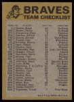 1974 Topps Red Checklist   -       Braves Red Team Checklist Back Thumbnail