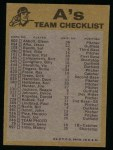 1974 Topps Red Checklist   Athletics Back Thumbnail