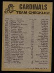 1974 Topps Red Checklist   -     Cardinals Red Team Checklist Back Thumbnail
