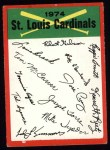 1974 Topps Red Checklist   -     Cardinals Front Thumbnail