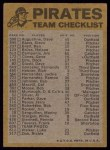1974 Topps Red Checklist   Pirates Red Team Checklist Back Thumbnail