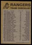 1974 Topps Red Checklist   Rangers Red Team Checklist Back Thumbnail