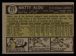 1961 Topps #327  Matty Alou  Back Thumbnail