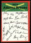1974 Topps Red Checklist   -       Braves Red Team Checklist Front Thumbnail
