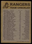 1974 Topps Red Checklist   Rangers Back Thumbnail