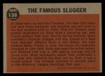 1962 Topps #138 NRM  -  Babe Ruth The Famous Slugger Back Thumbnail