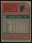 1975 Topps #36  Joe Lovitto  Back Thumbnail
