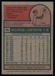 1975 Topps #66  Willie Horton  Back Thumbnail
