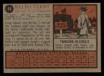 1962 Topps #48  Ralph Terry  Back Thumbnail