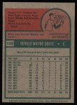1975 Topps #158  Jerry Grote  Back Thumbnail