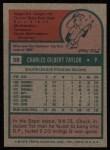 1975 Topps #58  Chuck Taylor  Back Thumbnail