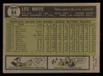 1961 Topps #84  Lee Maye  Back Thumbnail