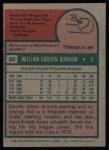 1975 Topps #85  Bill Bonham  Back Thumbnail