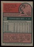 1975 Topps #151  Steve Brye  Back Thumbnail