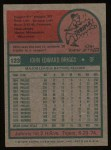 1975 Topps #123  Johnny Briggs  Back Thumbnail
