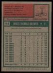 1975 Topps #163  Jim Brewer  Back Thumbnail