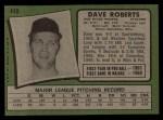 1971 Topps #448  Dave Roberts  Back Thumbnail